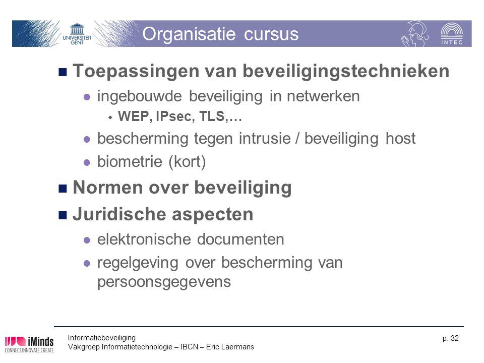 Informatiebeveiliging Vakgroep Informatietechnologie – IBCN – Eric Laermans p. 32 Organisatie cursus Toepassingen van beveiligingstechnieken ingebouwd