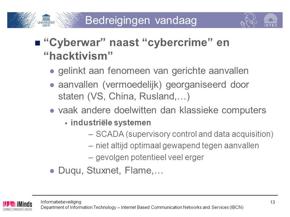 """Bedreigingen vandaag """"Cyberwar"""" naast """"cybercrime"""" en """"hacktivism"""" gelinkt aan fenomeen van gerichte aanvallen aanvallen (vermoedelijk) georganiseerd"""