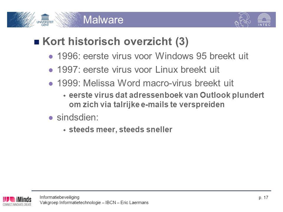Informatiebeveiliging Vakgroep Informatietechnologie – IBCN – Eric Laermans p. 17 Malware Kort historisch overzicht (3) 1996: eerste virus voor Window
