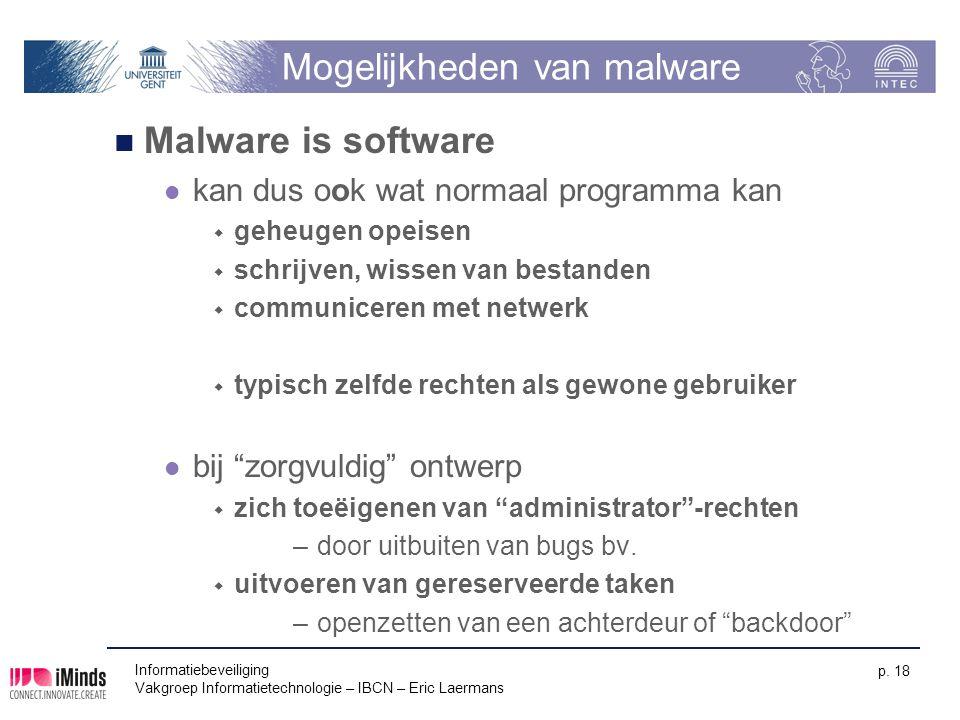 Informatiebeveiliging Vakgroep Informatietechnologie – IBCN – Eric Laermans p. 18 Mogelijkheden van malware Malware is software kan dus ook wat normaa