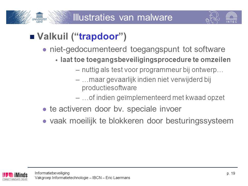 """Informatiebeveiliging Vakgroep Informatietechnologie – IBCN – Eric Laermans p. 19 Illustraties van malware Valkuil (""""trapdoor"""") niet-gedocumenteerd to"""