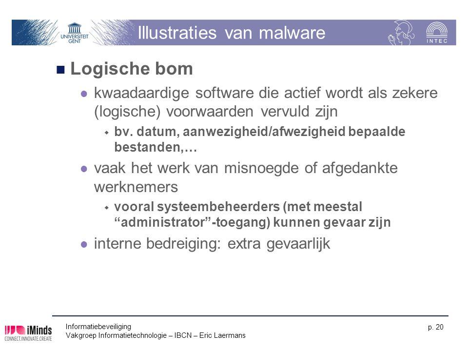 Informatiebeveiliging Vakgroep Informatietechnologie – IBCN – Eric Laermans p. 20 Illustraties van malware Logische bom kwaadaardige software die acti