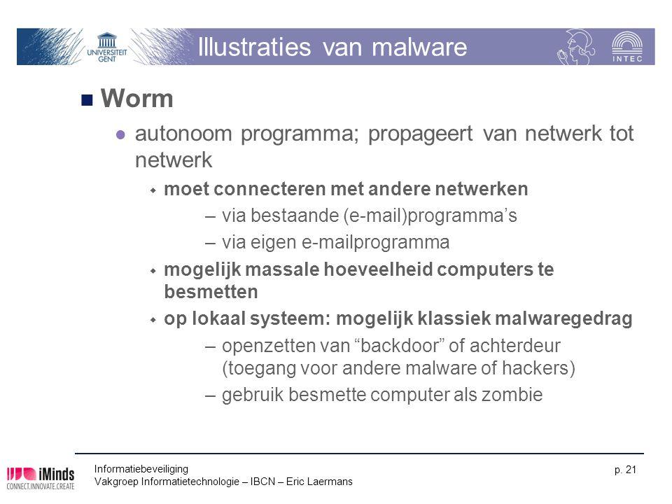 Informatiebeveiliging Vakgroep Informatietechnologie – IBCN – Eric Laermans p. 21 Illustraties van malware Worm autonoom programma; propageert van net