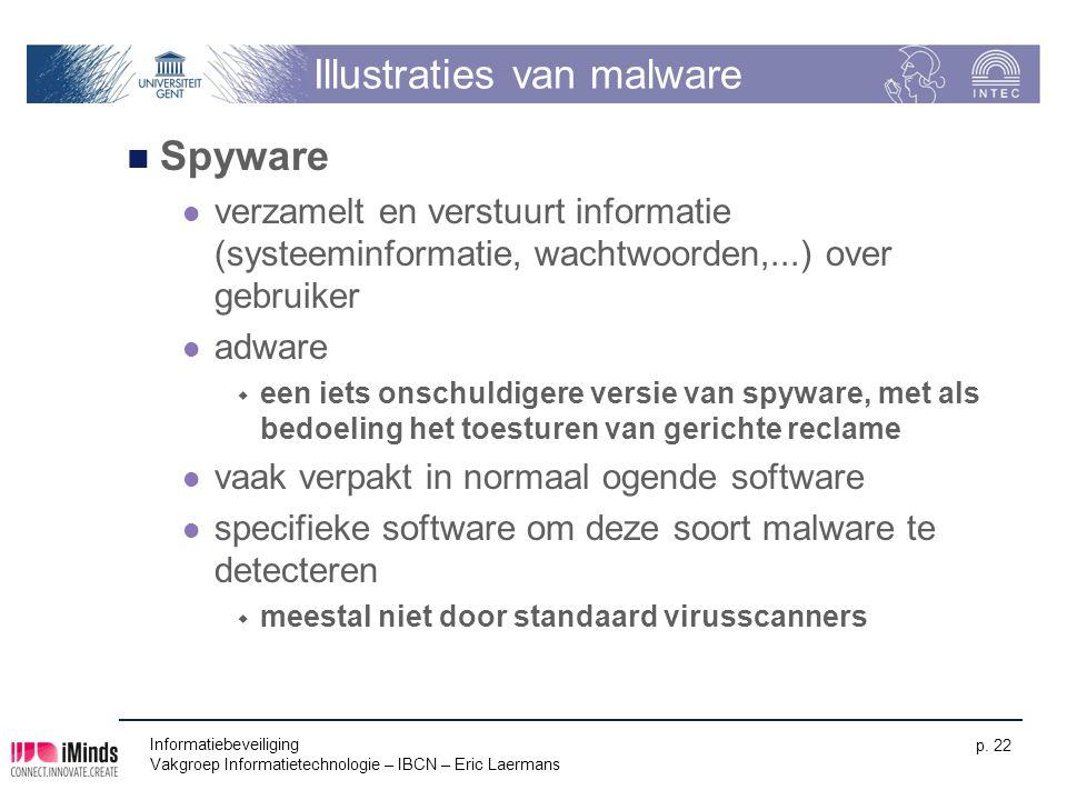 Informatiebeveiliging Vakgroep Informatietechnologie – IBCN – Eric Laermans p. 22 Illustraties van malware Spyware verzamelt en verstuurt informatie (
