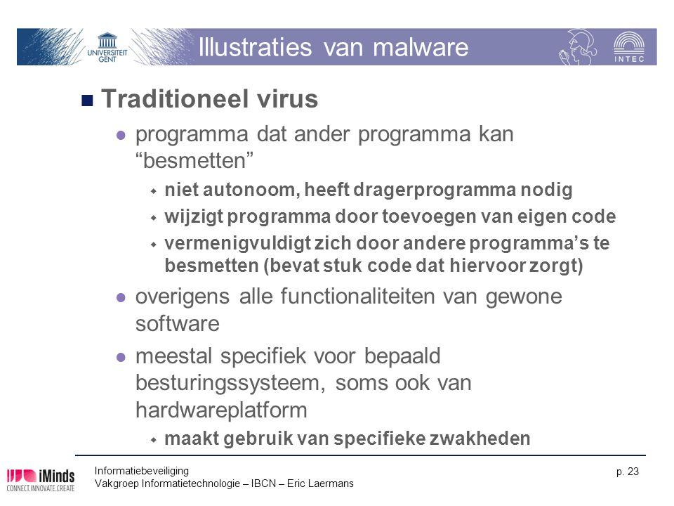 Informatiebeveiliging Vakgroep Informatietechnologie – IBCN – Eric Laermans p. 23 Illustraties van malware Traditioneel virus programma dat ander prog