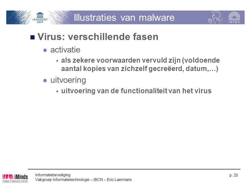 Informatiebeveiliging Vakgroep Informatietechnologie – IBCN – Eric Laermans p. 25 Illustraties van malware Virus: verschillende fasen activatie  als