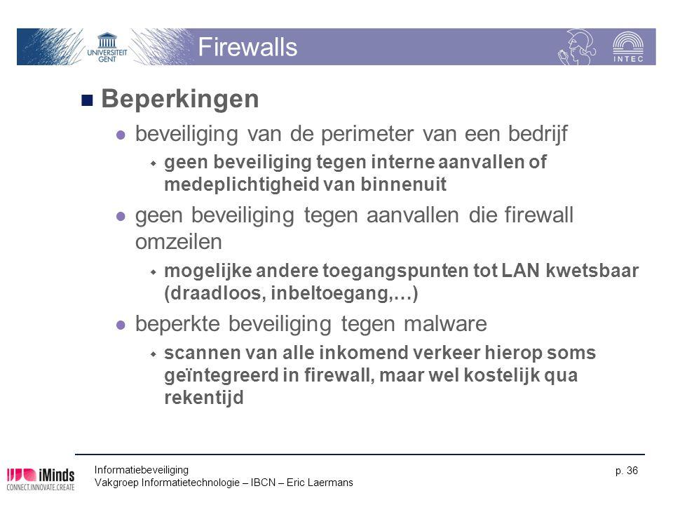 Informatiebeveiliging Vakgroep Informatietechnologie – IBCN – Eric Laermans p. 36 Firewalls Beperkingen beveiliging van de perimeter van een bedrijf 