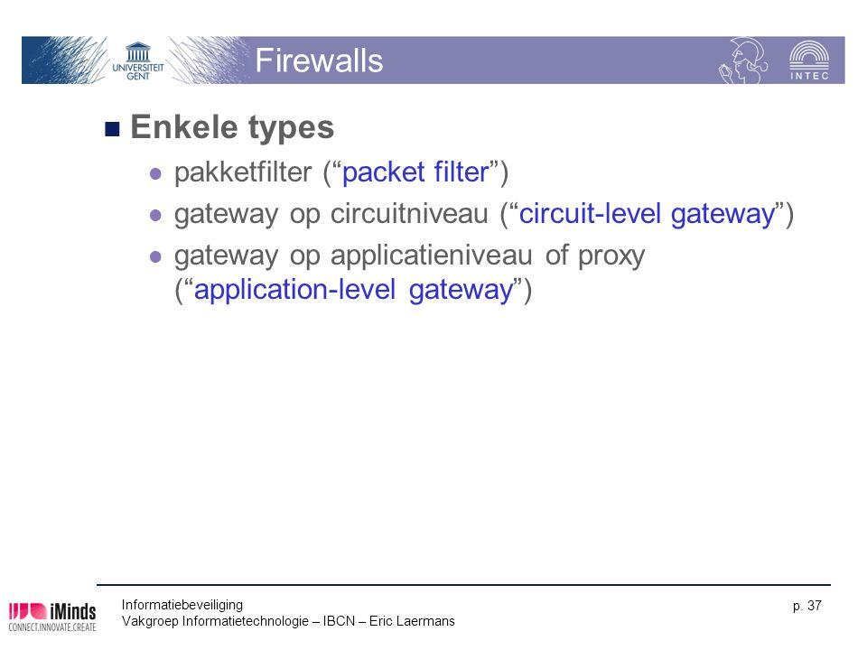 "Informatiebeveiliging Vakgroep Informatietechnologie – IBCN – Eric Laermans p. 37 Firewalls Enkele types pakketfilter (""packet filter"") gateway op cir"