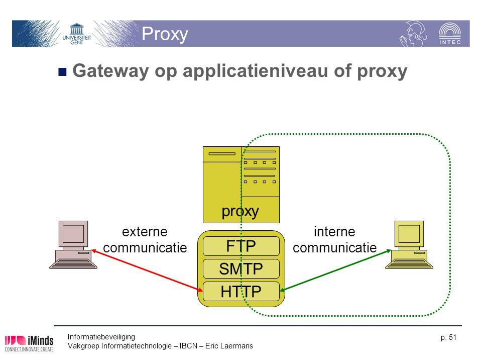 Informatiebeveiliging Vakgroep Informatietechnologie – IBCN – Eric Laermans p. 51 Proxy Gateway op applicatieniveau of proxy FTP SMTP HTTP proxy inter