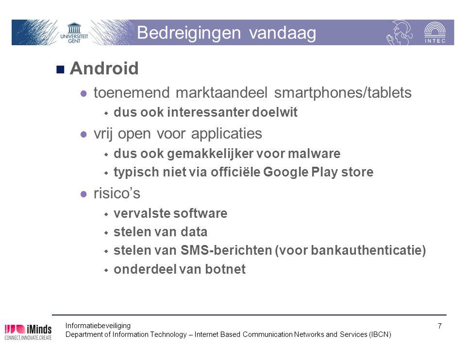 Bedreigingen vandaag Android toenemend marktaandeel smartphones/tablets  dus ook interessanter doelwit vrij open voor applicaties  dus ook gemakkeli