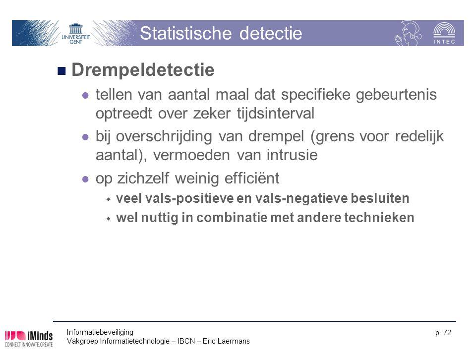 Informatiebeveiliging Vakgroep Informatietechnologie – IBCN – Eric Laermans p. 72 Statistische detectie Drempeldetectie tellen van aantal maal dat spe