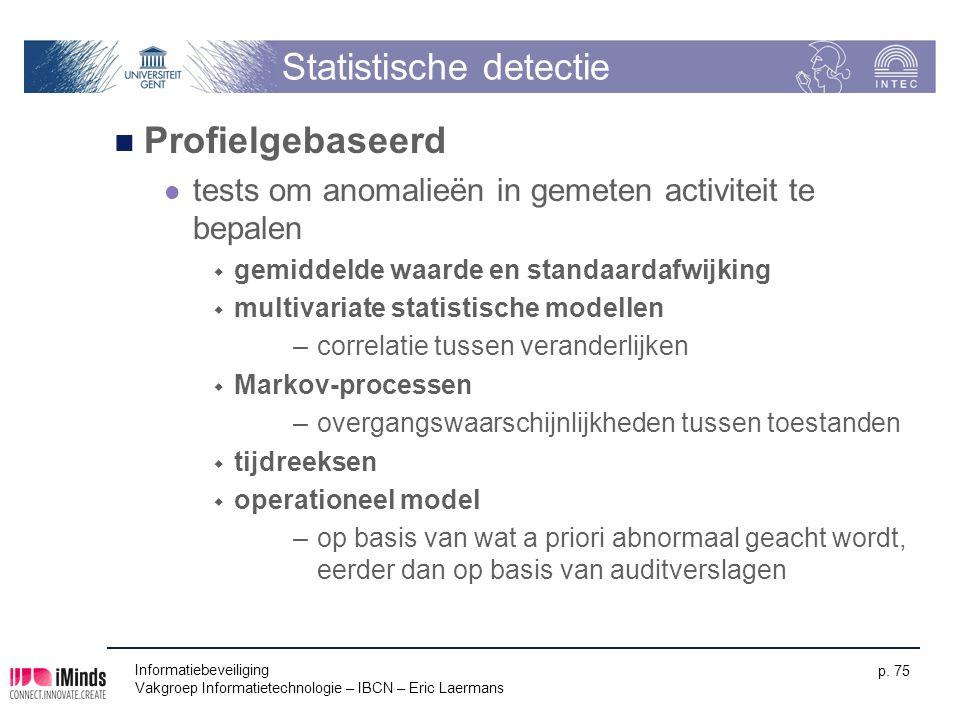 Informatiebeveiliging Vakgroep Informatietechnologie – IBCN – Eric Laermans p. 75 Statistische detectie Profielgebaseerd tests om anomalieën in gemete