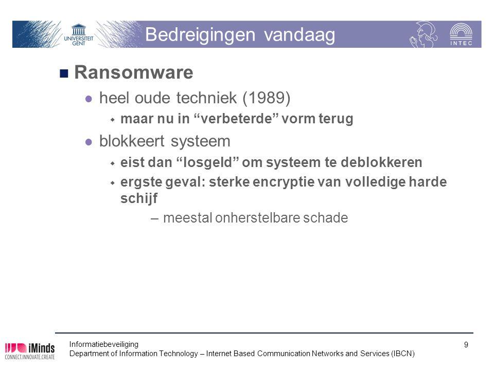 """Bedreigingen vandaag Ransomware heel oude techniek (1989)  maar nu in """"verbeterde"""" vorm terug blokkeert systeem  eist dan """"losgeld"""" om systeem te de"""