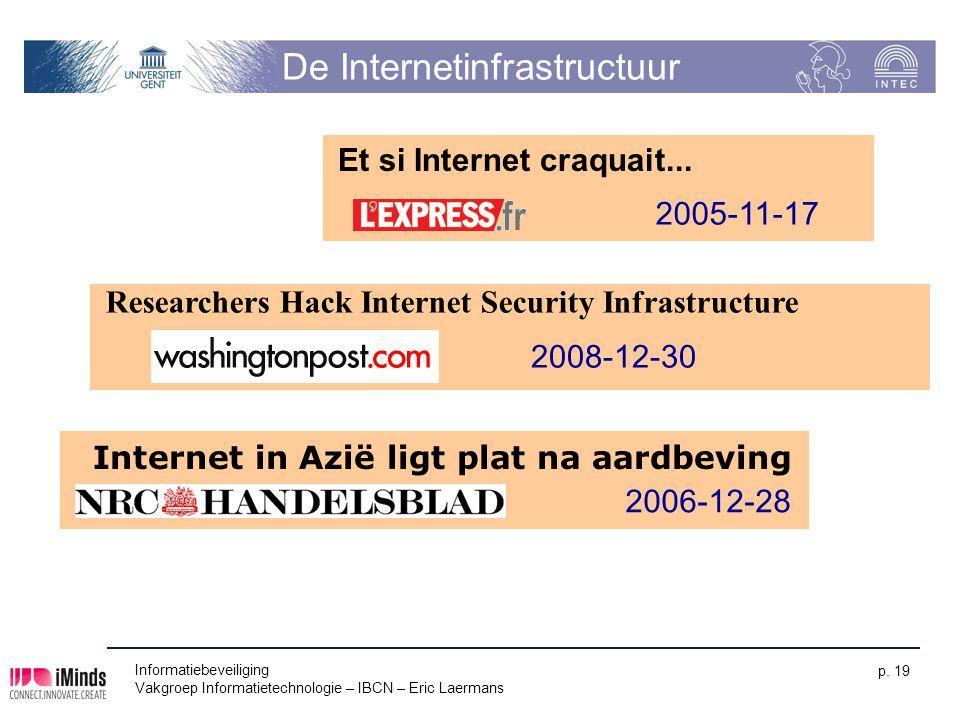 De Internetinfrastructuur Informatiebeveiliging Vakgroep Informatietechnologie – IBCN – Eric Laermans p. 19 Et si Internet craquait... 2005-11-17 Inte