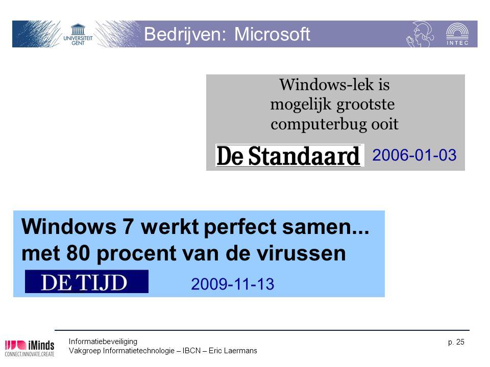 Informatiebeveiliging Vakgroep Informatietechnologie – IBCN – Eric Laermans p. 25 Bedrijven: Microsoft Windows-lek is mogelijk grootste computerbug oo