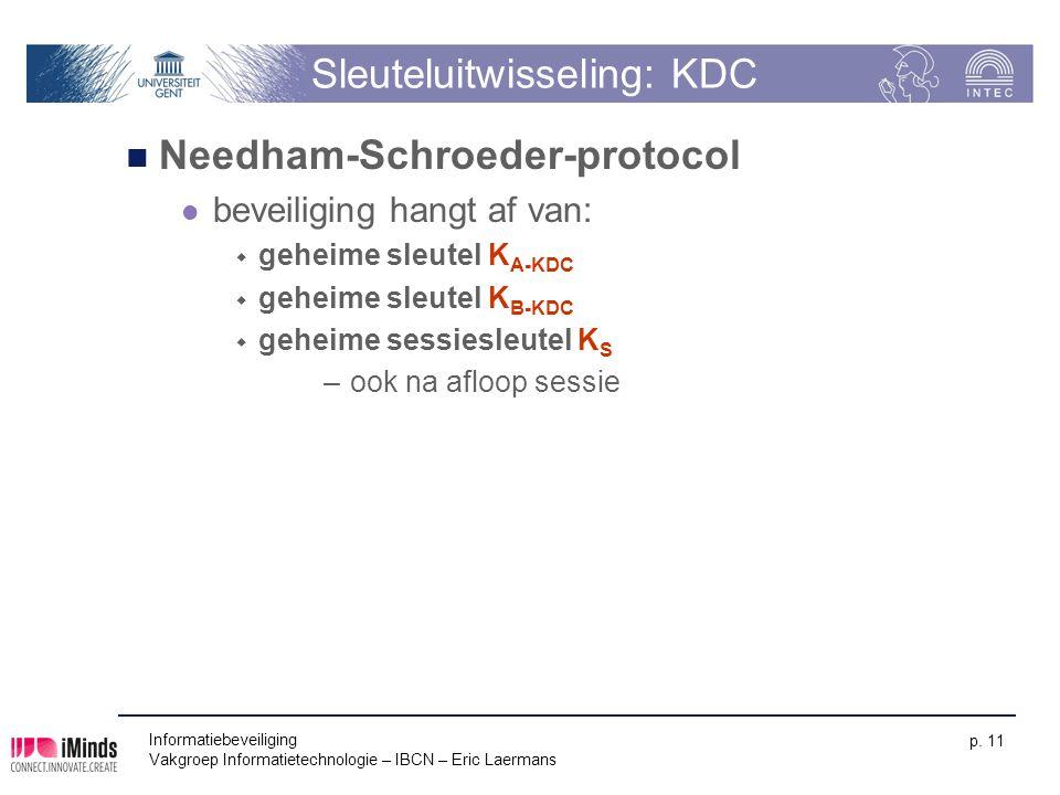 Informatiebeveiliging Vakgroep Informatietechnologie – IBCN – Eric Laermans p. 11 Sleuteluitwisseling: KDC Needham-Schroeder-protocol beveiliging hang