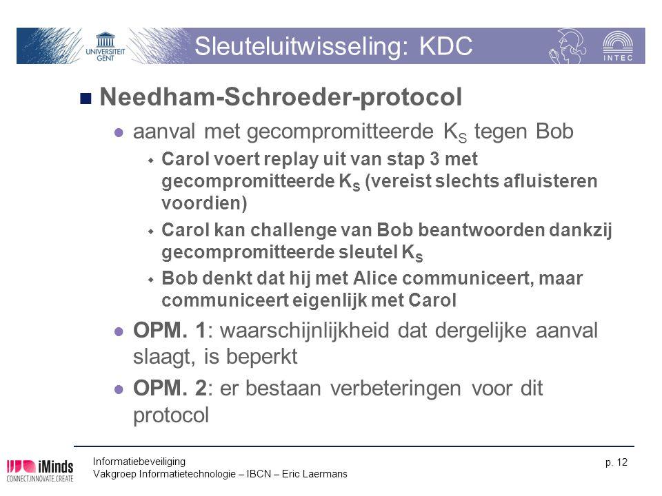 Informatiebeveiliging Vakgroep Informatietechnologie – IBCN – Eric Laermans p. 12 Sleuteluitwisseling: KDC Needham-Schroeder-protocol aanval met gecom