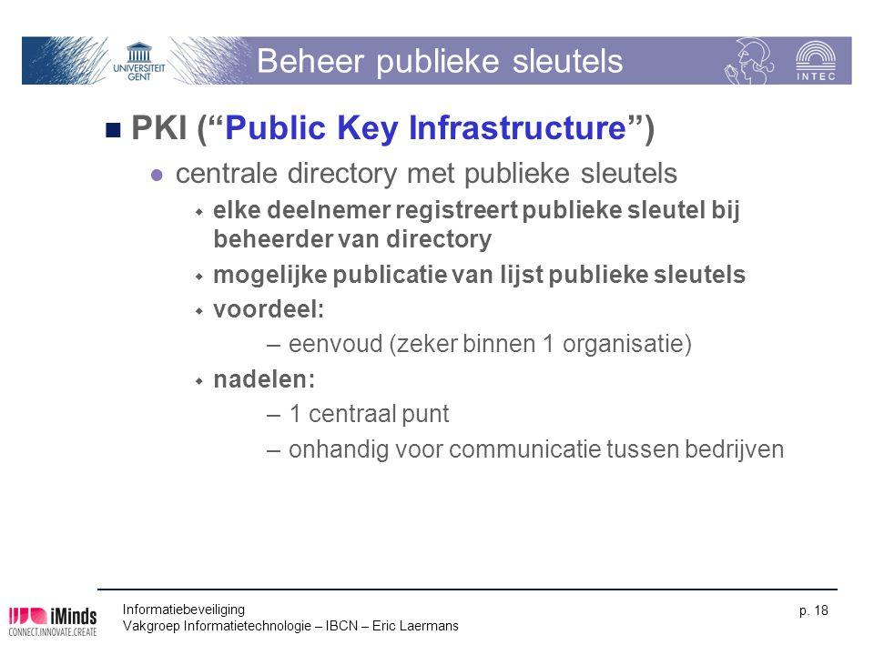 """Informatiebeveiliging Vakgroep Informatietechnologie – IBCN – Eric Laermans p. 18 Beheer publieke sleutels PKI (""""Public Key Infrastructure"""") centrale"""