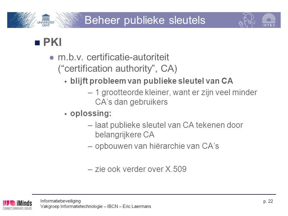 """Informatiebeveiliging Vakgroep Informatietechnologie – IBCN – Eric Laermans p. 22 Beheer publieke sleutels PKI m.b.v. certificatie-autoriteit (""""certif"""