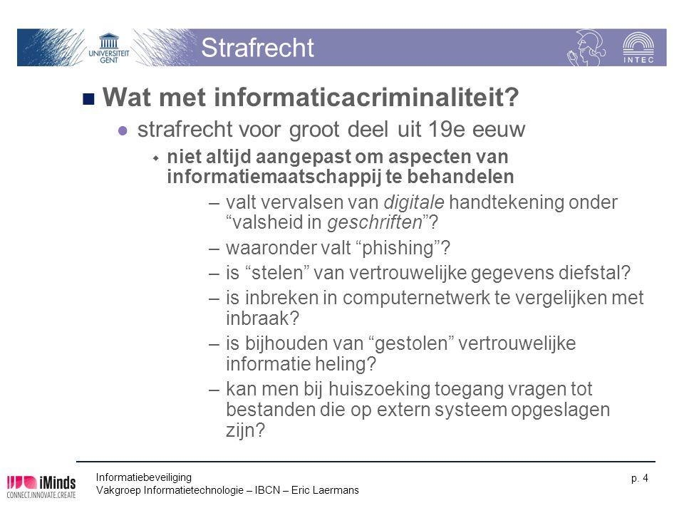 Informatiebeveiliging Vakgroep Informatietechnologie – IBCN – Eric Laermans p. 4 Strafrecht Wat met informaticacriminaliteit? strafrecht voor groot de