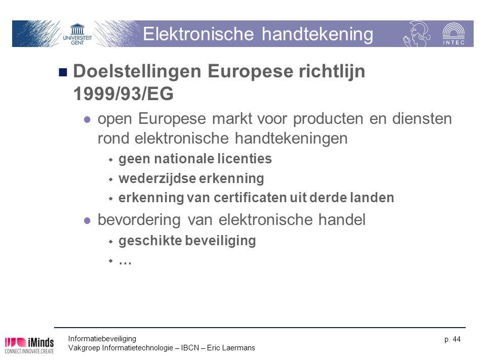Informatiebeveiliging Vakgroep Informatietechnologie – IBCN – Eric Laermans p. 44 Elektronische handtekening Doelstellingen Europese richtlijn 1999/93