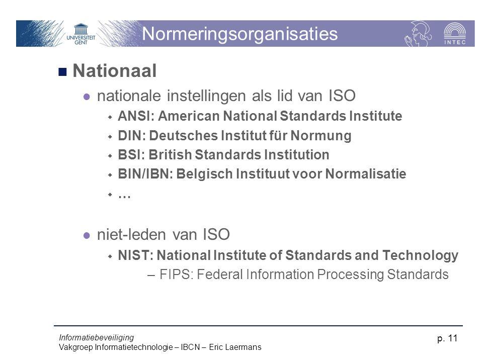 Informatiebeveiliging Vakgroep Informatietechnologie – IBCN – Eric Laermans p. 11 Normeringsorganisaties Nationaal nationale instellingen als lid van