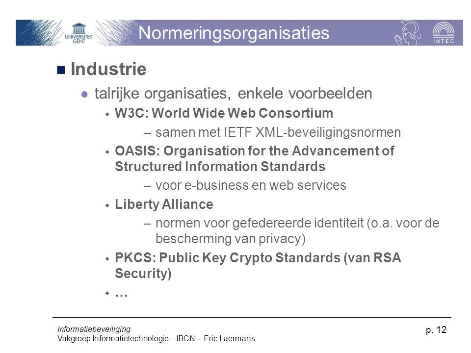 Informatiebeveiliging Vakgroep Informatietechnologie – IBCN – Eric Laermans p. 12 Normeringsorganisaties Industrie talrijke organisaties, enkele voorb