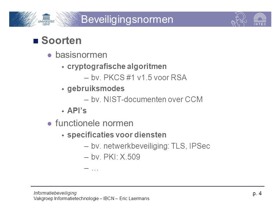 Informatiebeveiliging Vakgroep Informatietechnologie – IBCN – Eric Laermans p. 4 Beveiligingsnormen Soorten basisnormen  cryptografische algoritmen –