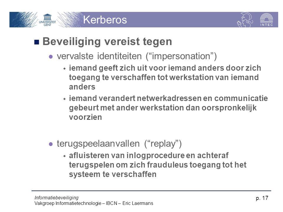 """Informatiebeveiliging Vakgroep Informatietechnologie – IBCN – Eric Laermans p. 17 Kerberos Beveiliging vereist tegen vervalste identiteiten (""""imperson"""