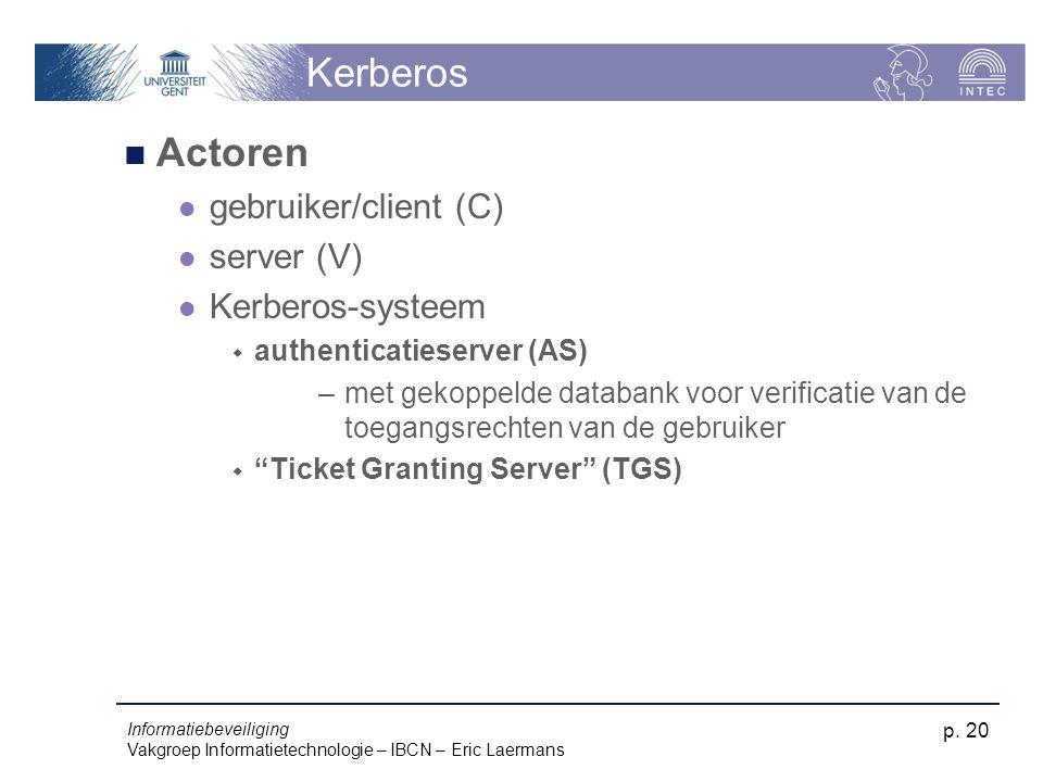 Informatiebeveiliging Vakgroep Informatietechnologie – IBCN – Eric Laermans p. 20 Kerberos Actoren gebruiker/client (C) server (V) Kerberos-systeem 