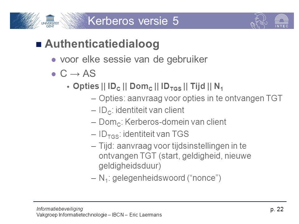 Informatiebeveiliging Vakgroep Informatietechnologie – IBCN – Eric Laermans p. 22 Kerberos versie 5 Authenticatiedialoog voor elke sessie van de gebru