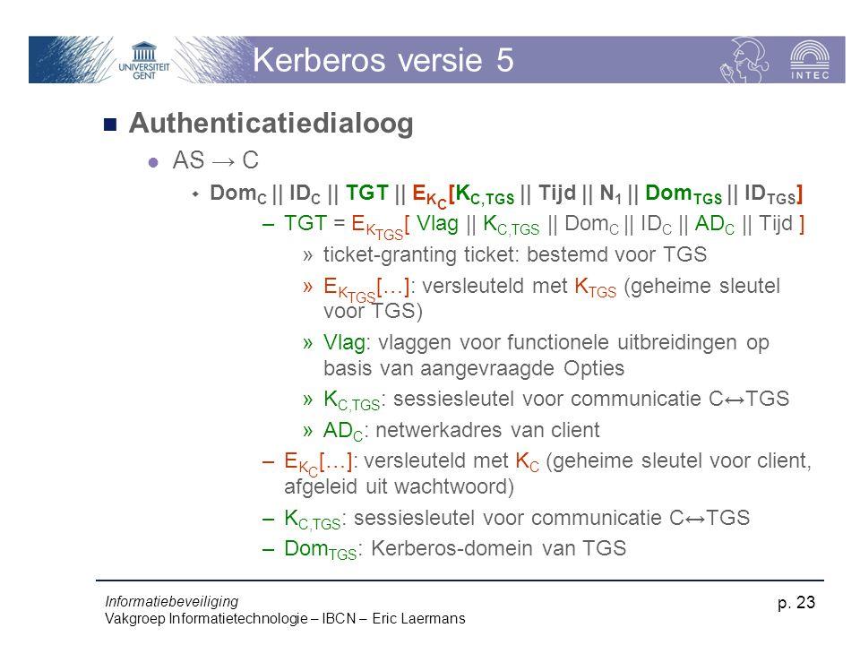 Informatiebeveiliging Vakgroep Informatietechnologie – IBCN – Eric Laermans p. 23 Kerberos versie 5 Authenticatiedialoog AS → C  Dom C || ID C || TGT