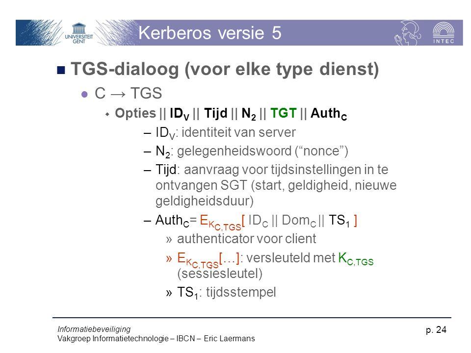Informatiebeveiliging Vakgroep Informatietechnologie – IBCN – Eric Laermans p. 24 Kerberos versie 5 TGS-dialoog (voor elke type dienst) C → TGS  Opti