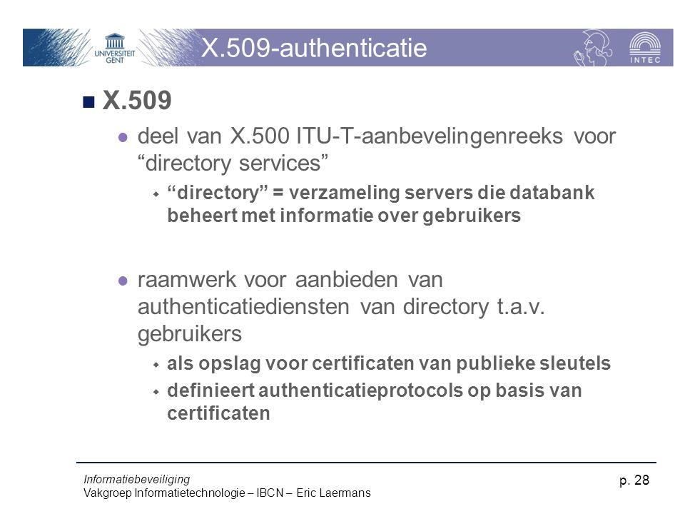 Informatiebeveiliging Vakgroep Informatietechnologie – IBCN – Eric Laermans p. 28 X.509-authenticatie X.509 deel van X.500 ITU-T-aanbevelingenreeks vo