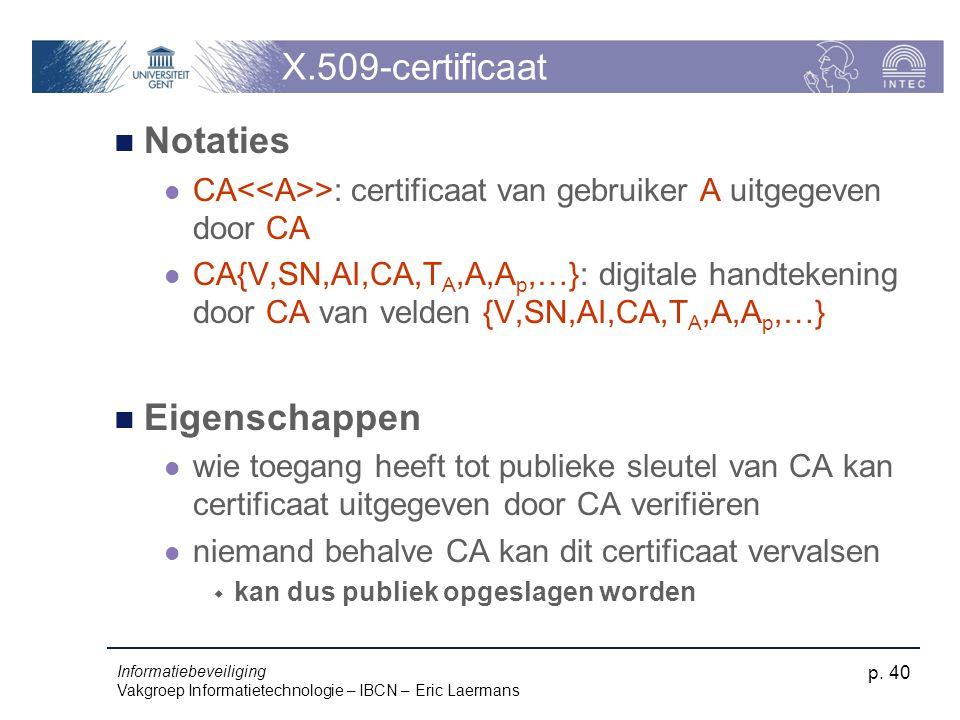 Informatiebeveiliging Vakgroep Informatietechnologie – IBCN – Eric Laermans p. 40 X.509-certificaat Notaties CA >: certificaat van gebruiker A uitgege