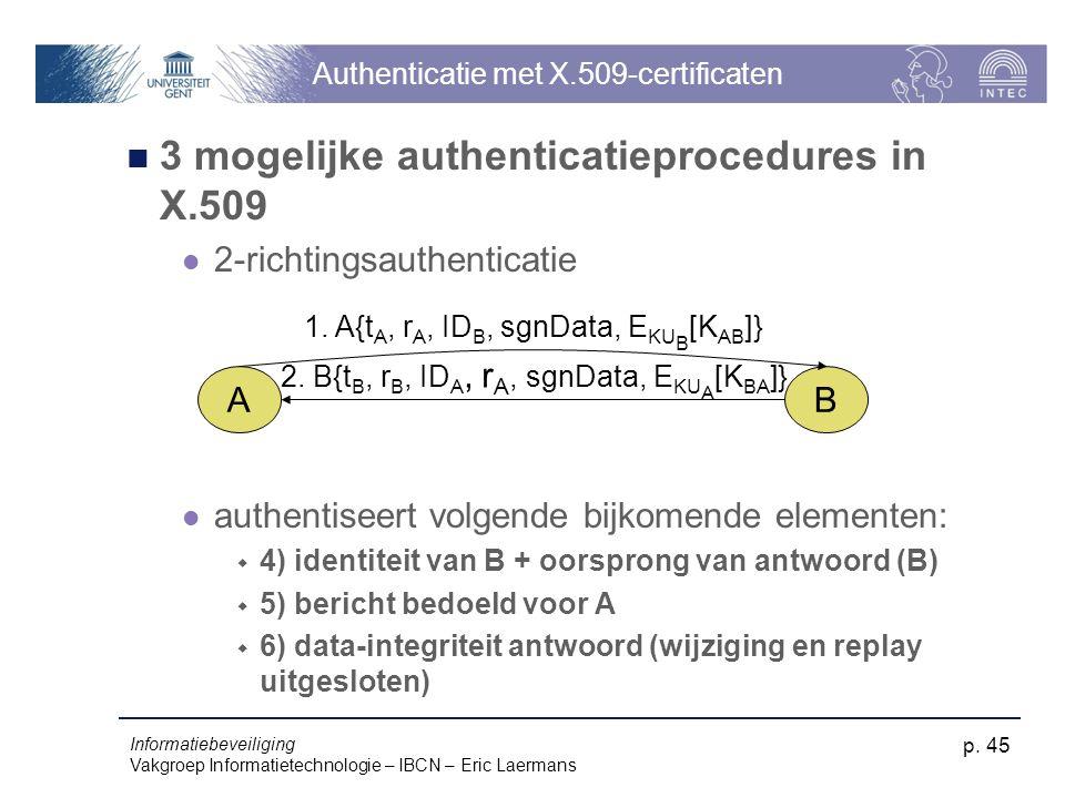 Informatiebeveiliging Vakgroep Informatietechnologie – IBCN – Eric Laermans p. 45 Authenticatie met X.509-certificaten 3 mogelijke authenticatieproced