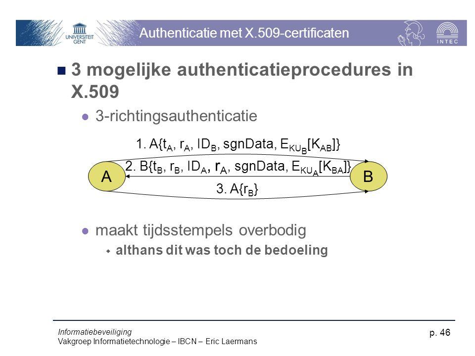 Informatiebeveiliging Vakgroep Informatietechnologie – IBCN – Eric Laermans p. 46 Authenticatie met X.509-certificaten 3 mogelijke authenticatieproced