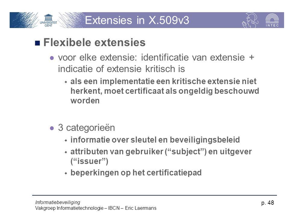 Informatiebeveiliging Vakgroep Informatietechnologie – IBCN – Eric Laermans p. 48 Extensies in X.509v3 Flexibele extensies voor elke extensie: identif