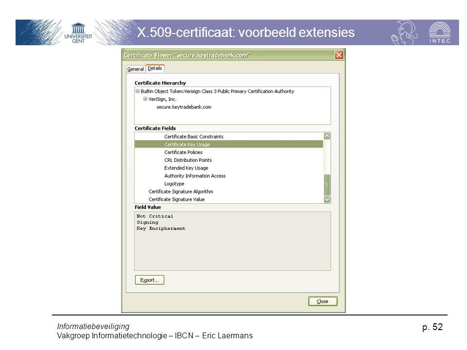 Informatiebeveiliging Vakgroep Informatietechnologie – IBCN – Eric Laermans p. 52 X.509-certificaat: voorbeeld extensies