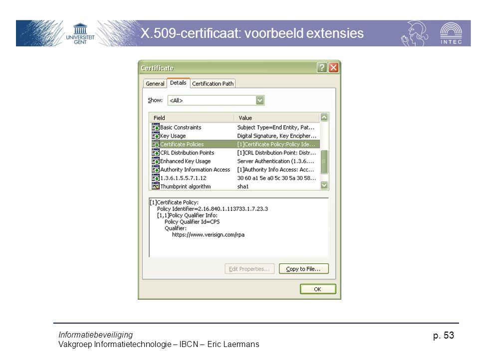 Informatiebeveiliging Vakgroep Informatietechnologie – IBCN – Eric Laermans p. 53 X.509-certificaat: voorbeeld extensies