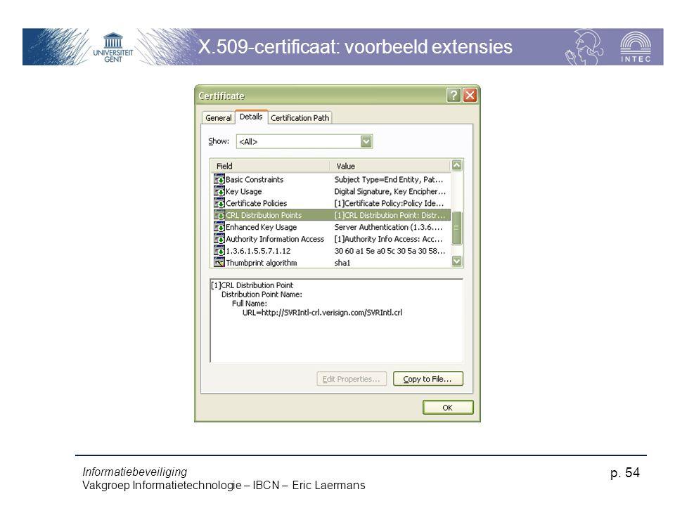 Informatiebeveiliging Vakgroep Informatietechnologie – IBCN – Eric Laermans p. 54 X.509-certificaat: voorbeeld extensies