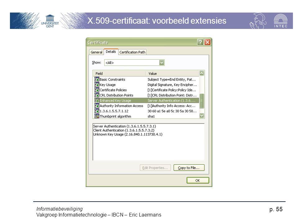 Informatiebeveiliging Vakgroep Informatietechnologie – IBCN – Eric Laermans p. 55 X.509-certificaat: voorbeeld extensies