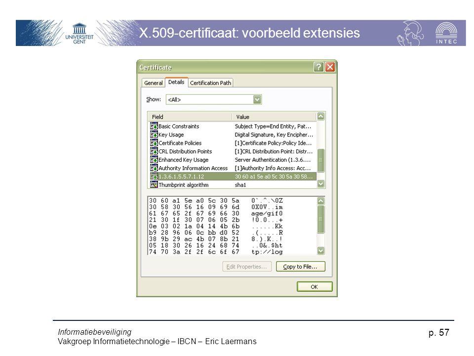 Informatiebeveiliging Vakgroep Informatietechnologie – IBCN – Eric Laermans p. 57 X.509-certificaat: voorbeeld extensies