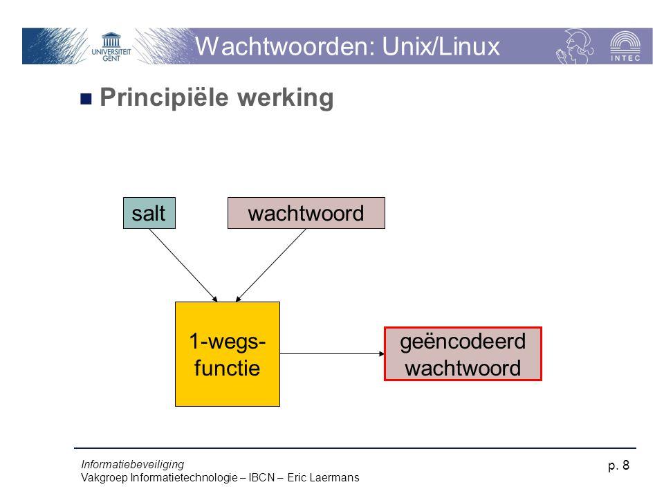 Informatiebeveiliging Vakgroep Informatietechnologie – IBCN – Eric Laermans p. 8 Wachtwoorden: Unix/Linux Principiële werking saltwachtwoord 1-wegs- f