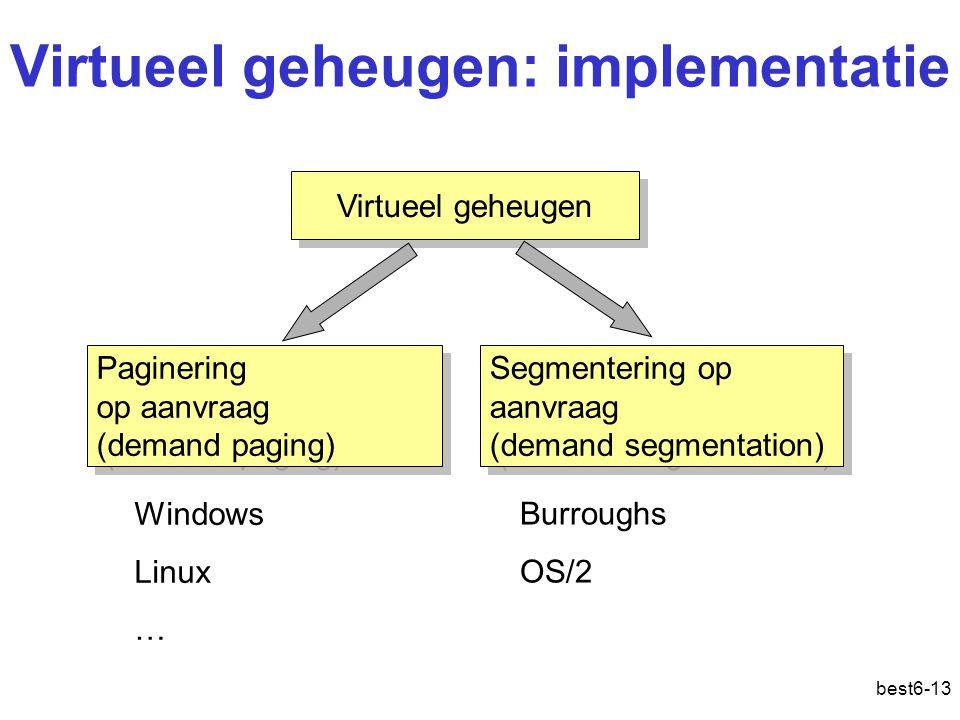 best6-13 Virtueel geheugen: implementatie Virtueel geheugen Paginering op aanvraag (demand paging) Paginering op aanvraag (demand paging) Segmentering
