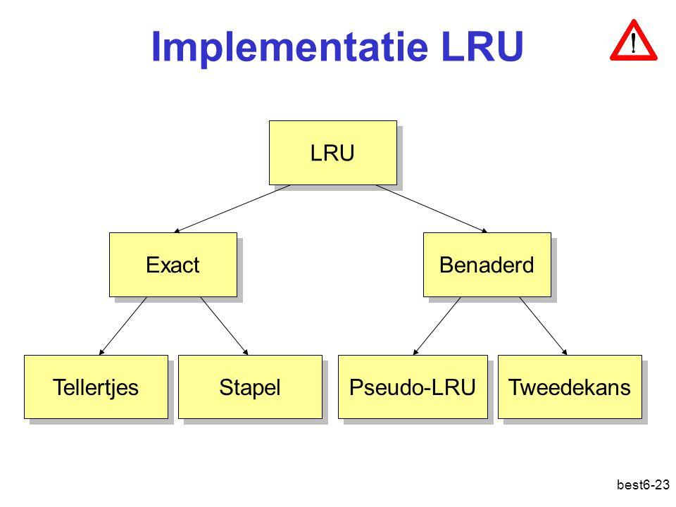 best6-23 Implementatie LRU LRU Exact Benaderd Tellertjes Stapel Pseudo-LRU Tweedekans