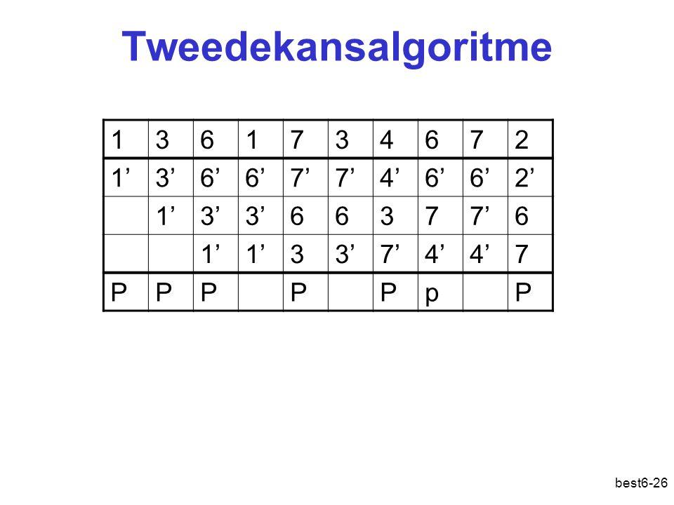 best6-26 1361734672 1'3'6' 7' 4'6' 2' 1'3' 66377'6 1' 33'7'4' 7 PPPPPpP Tweedekansalgoritme