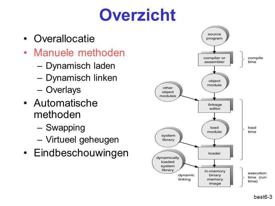 best6-3 Overzicht Overallocatie Manuele methoden –Dynamisch laden –Dynamisch linken –Overlays Automatische methoden –Swapping –Virtueel geheugen Eindb