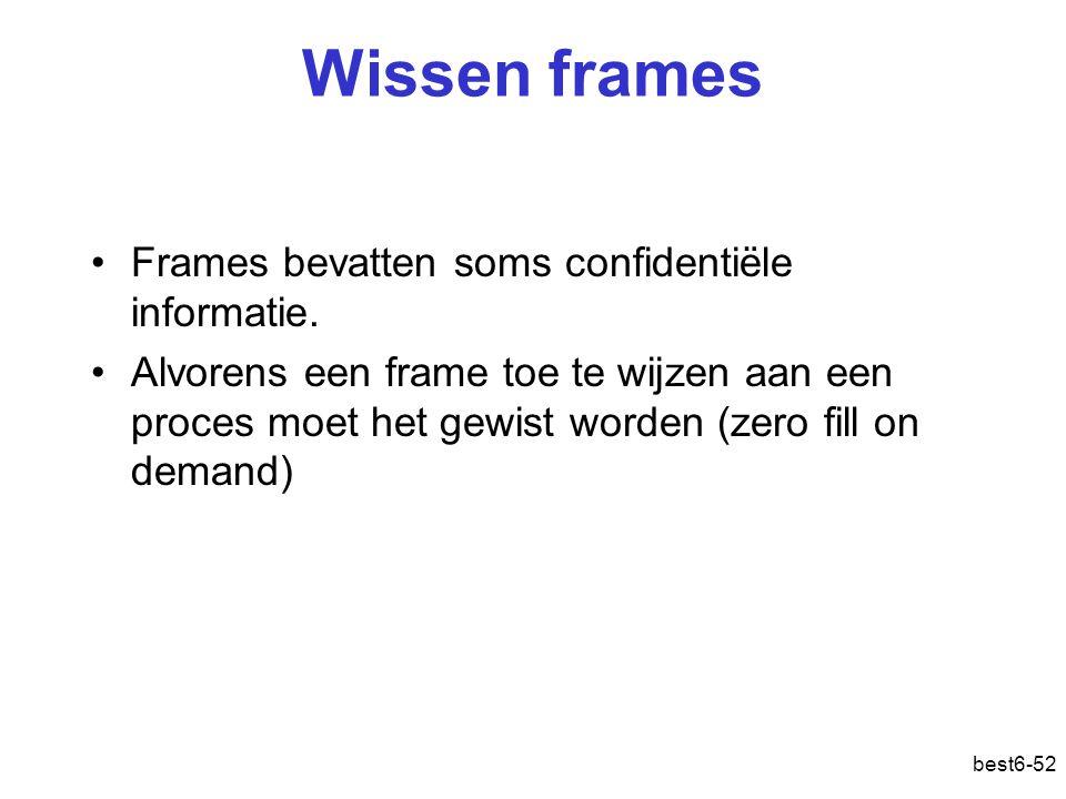 best6-52 Wissen frames Frames bevatten soms confidentiële informatie. Alvorens een frame toe te wijzen aan een proces moet het gewist worden (zero fil