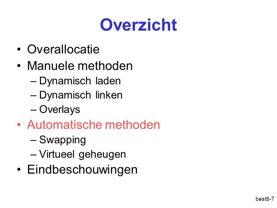 best6-7 Overzicht Overallocatie Manuele methoden –Dynamisch laden –Dynamisch linken –Overlays Automatische methoden –Swapping –Virtueel geheugen Eindb